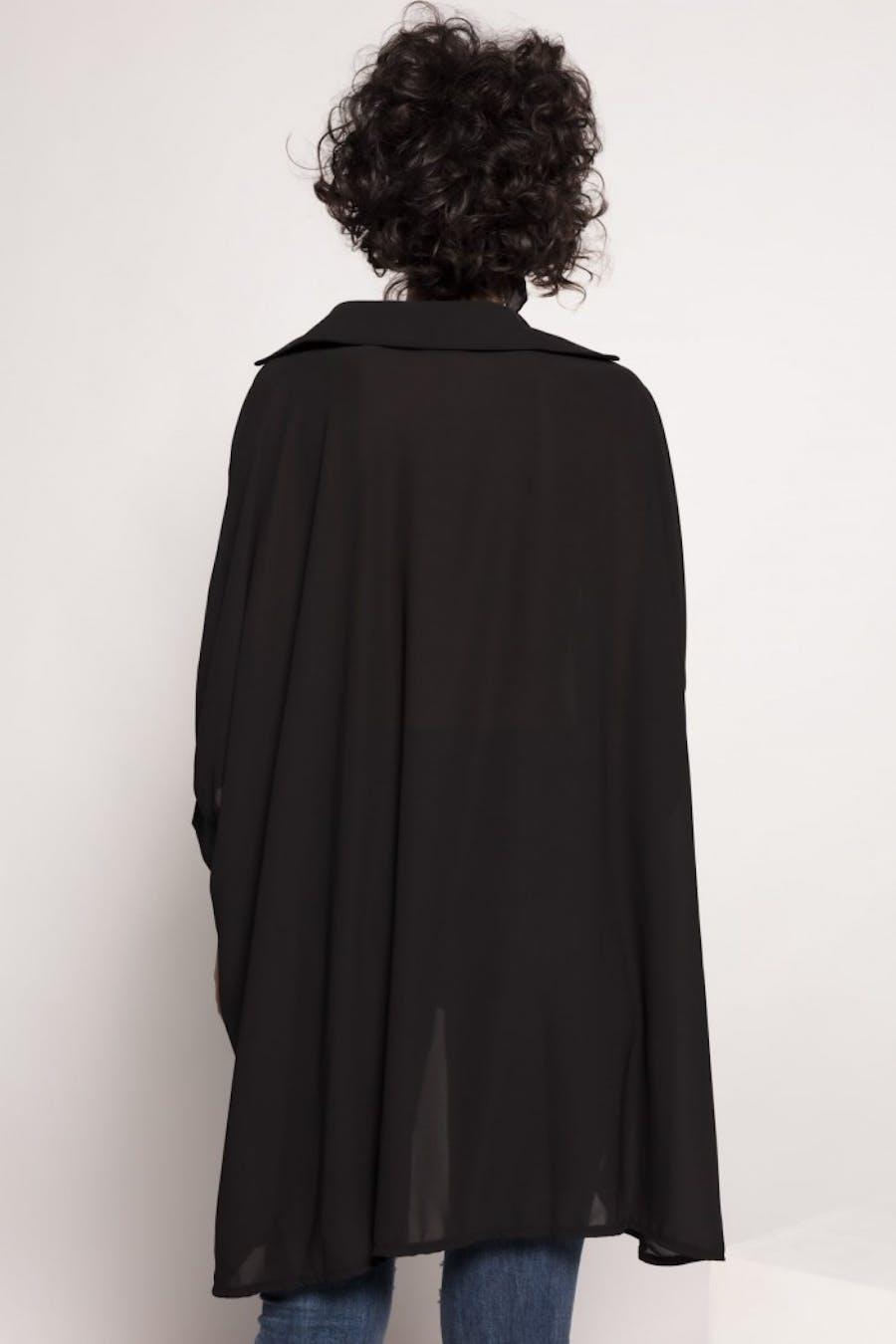 Camisa Cassual larga fluida Negro