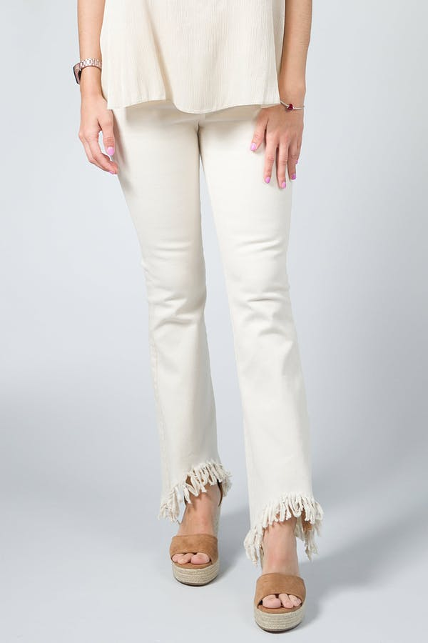 Pantalón flare beige
