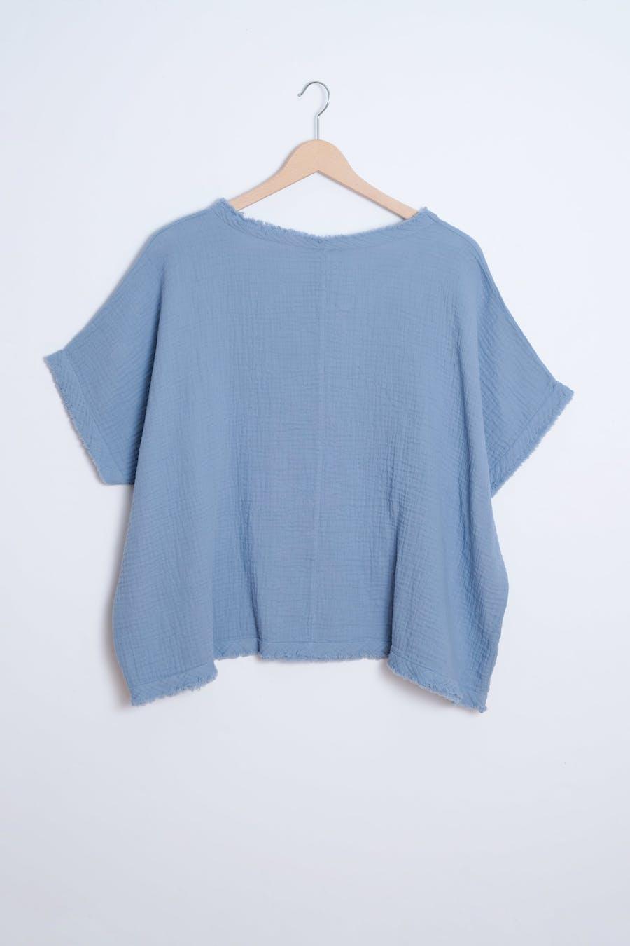 Camiseta costuras azul