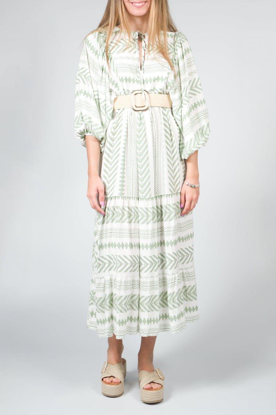 Vestido largo étnico verde