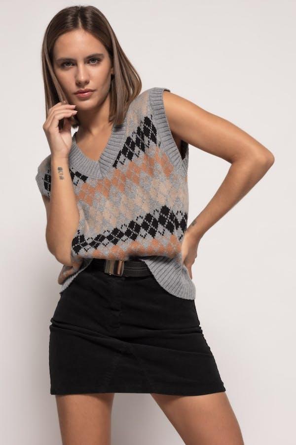 Falda Cassual mini cinturón vintage Negro