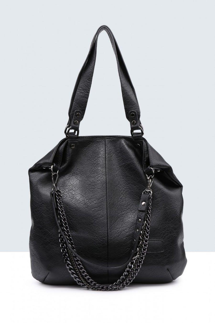 Bolso valentina shopper cadenas Negro