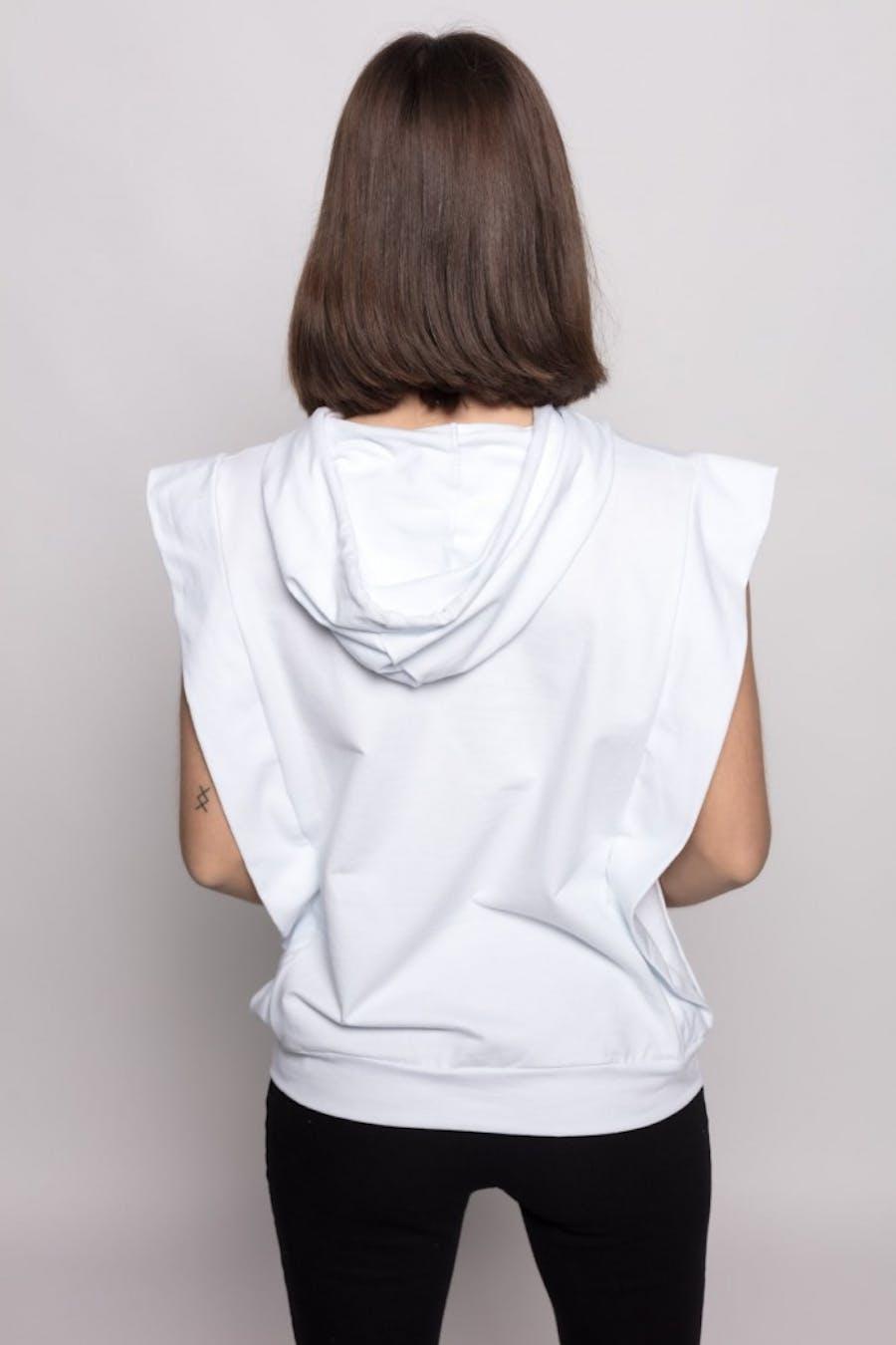 Camiseta Cassual capucha cordón Blanco