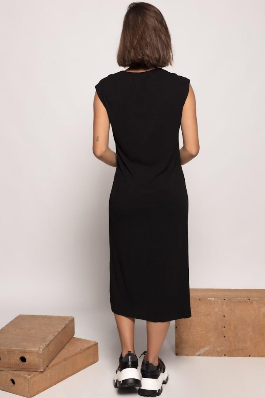 Vestido Cassual largo botones Negro