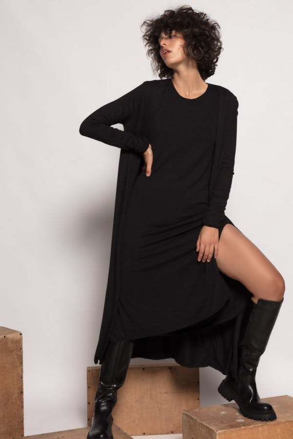 Kimono Cassual largo punto fino Negro