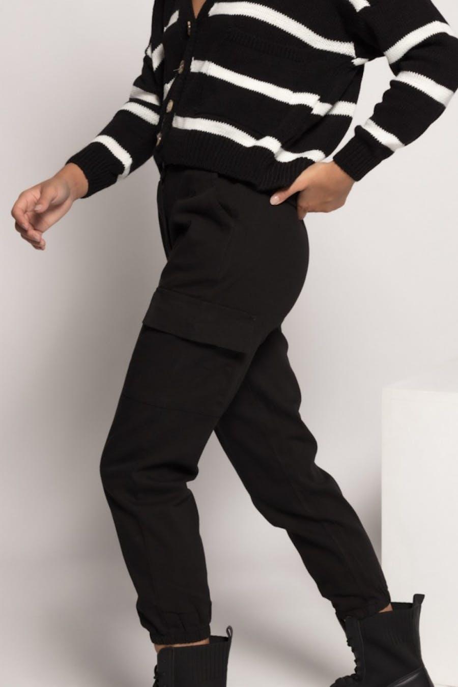 Pantalón Cassual cargo cinturón Negro