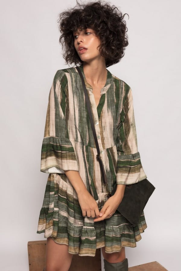 Vestido Cassual estampado Verde