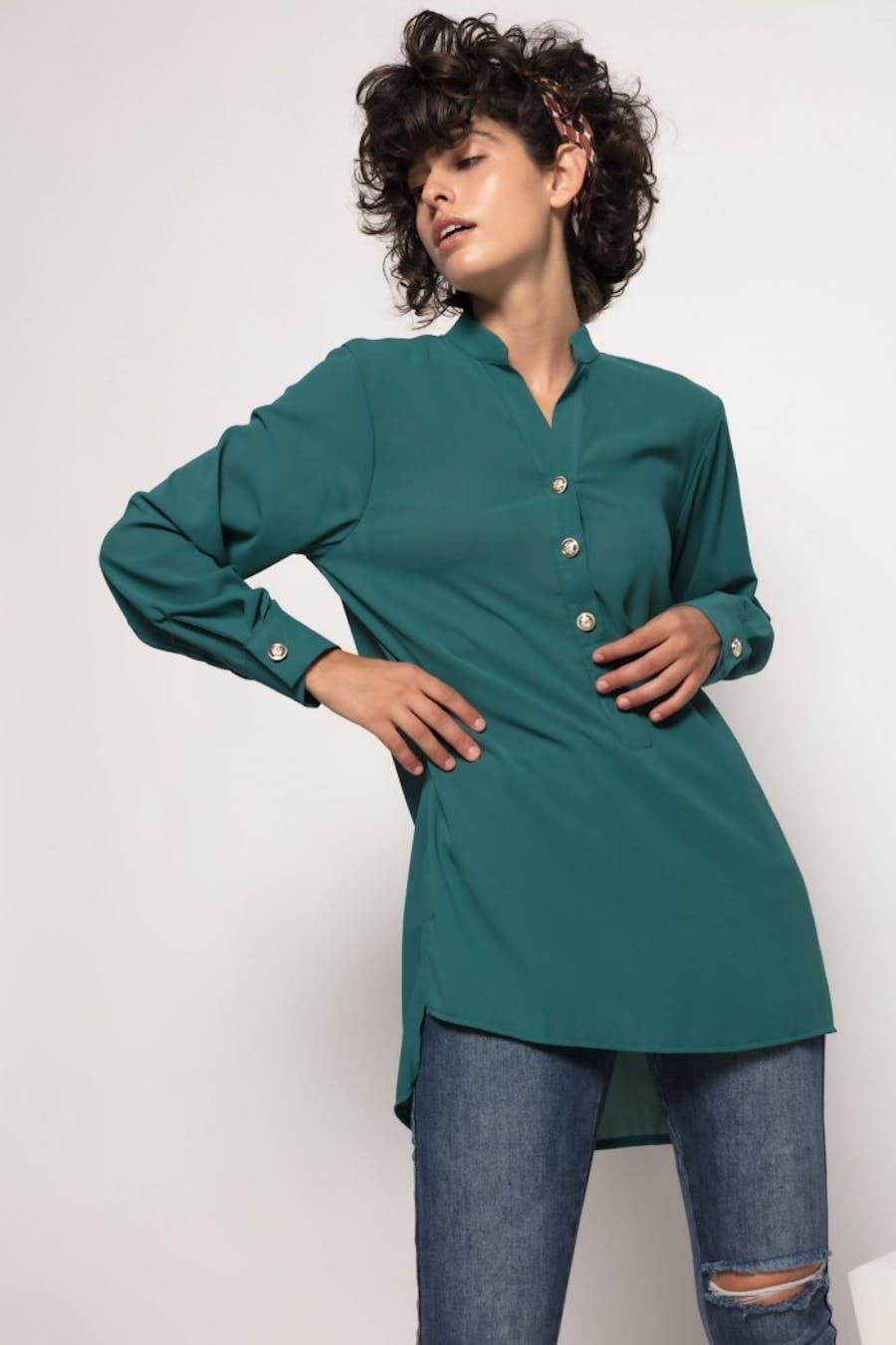 Camisa Cassual fluida Verde