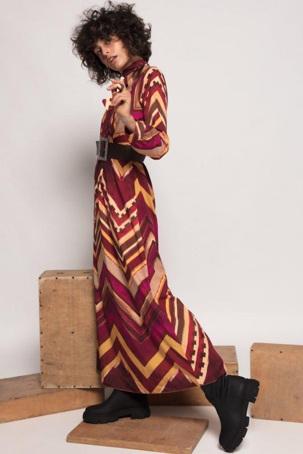Vestido Cassual largo estampado Burdeos