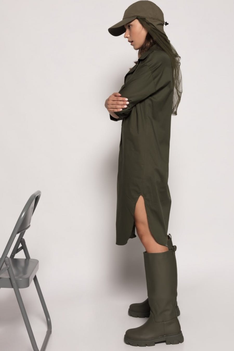 Vestido Cassual camisero Verde