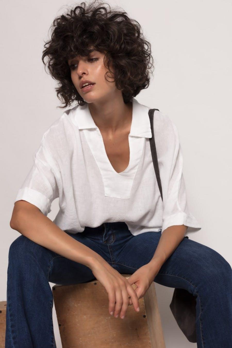 Blusa massima grazia con lino Blanco