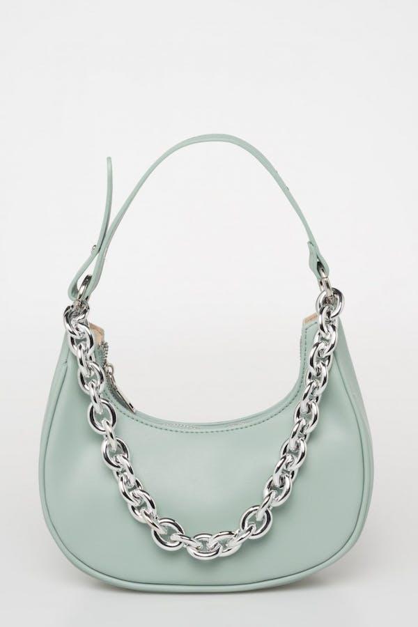 Bolso redondo cadena verde