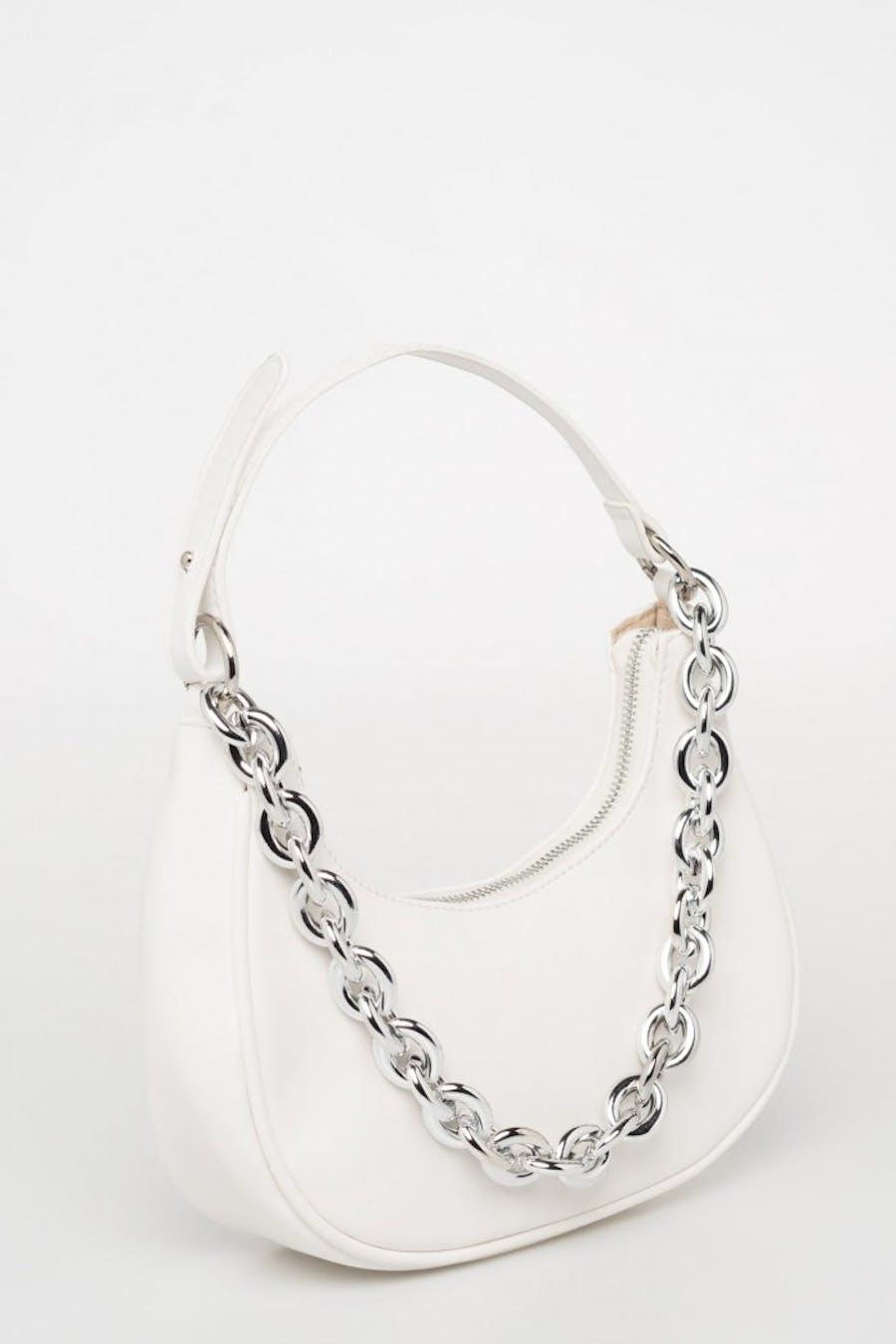 Bolso redondo cadena blanco