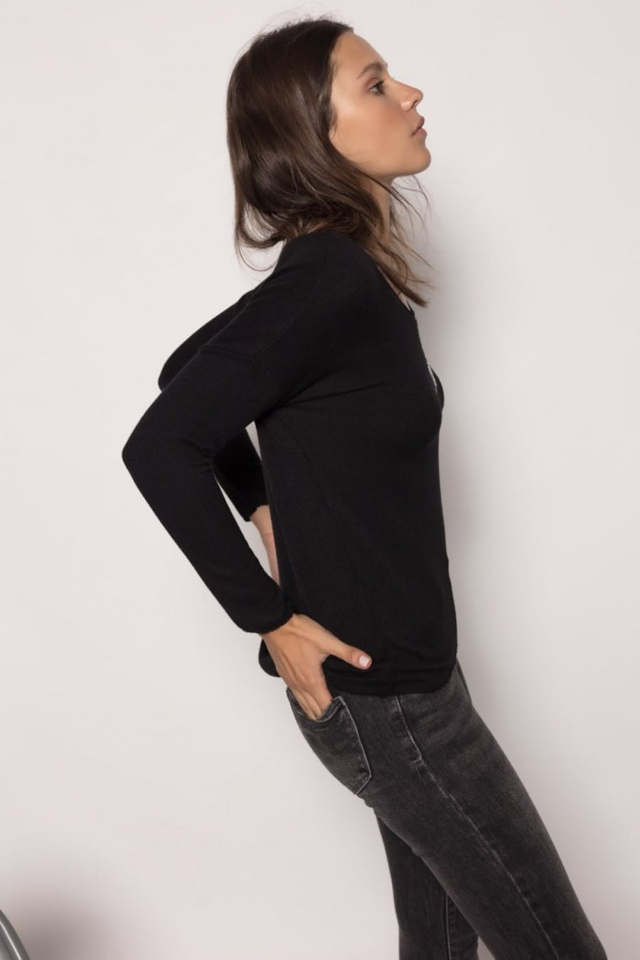 Camiseta massima grazia textura Negro