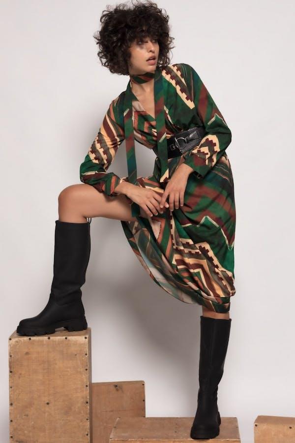 Vestido Cassual largo estampado Verde