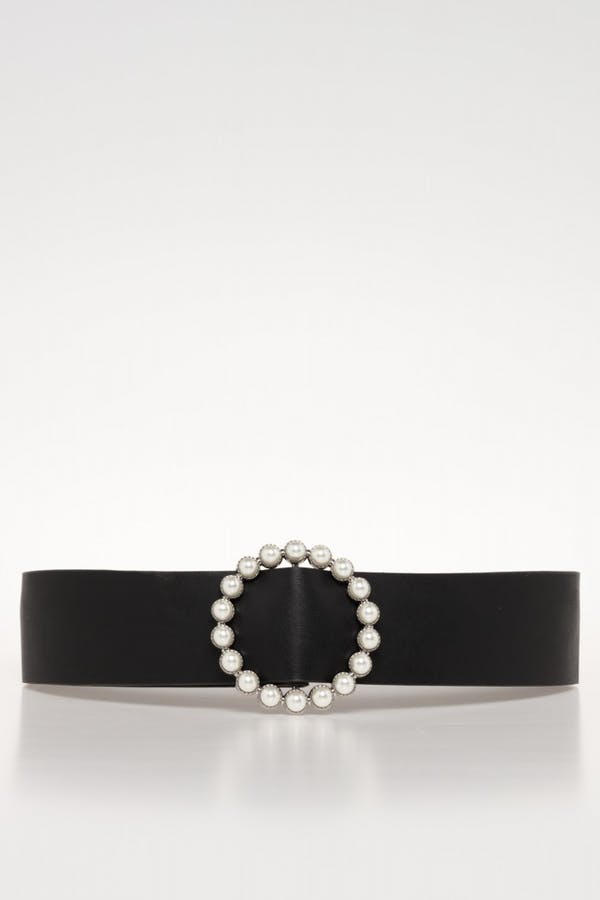 Cinturón Cassual hebilla perlas Plata